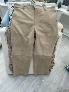 """Mens Suede Western Cowboy Leather Pants With Fringe 40"""" waist 42""""L"""