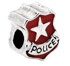 Red Police Officer Star Cop Badge Bead for Silver European Style Charm Bracelets