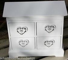 Coffret mini-kommode blanc cœur Armoire à épices à bijoux bois Boîte à