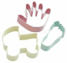 Kitchencraft Set 3 Metal New Baby Shower Shape Cookie/Biscuit Cutters.New Mums.