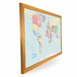 *New Design* Laminated World Map Pinboard, Framed in Light Wood 76 x 51cm