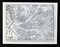 c 1930 Rand McNally Map Pittsburgh Plan Downtown Point Ohio River Pennsylvania