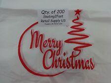 200 Qty Merry Christmas Plastic T Shirt Shopping Bags Handles 1125 X 6 X 21