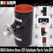 """EMUSA BLACK 3"""" Reinforce Silicone Adapter Pipe for SSQV Style Turbo BOV"""