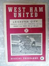 1964 WEST HAM UNITED v LEICESTER CITY, 23rd March (League Cup SEMI FINAL)