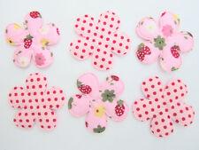 60 Strawberry & Polka Dot Pink Cotton Fabric Flower Applique/Trim/Quilting H447