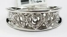 Diamond Band Ring Anniversary Gift Ladies 10k White Gold Heart Sweetheart Right