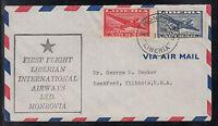 DE01 ) beautiful FFC Liberian Airways First Flight  Monrovia to Illinois