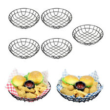 5pcs Stainless Steel Fast Food Serving Basket Hamburger Bread Restaurant BBQ