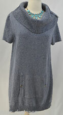 Tommy Hilfiger cowl neck knit Dress mini tunic top cotton sweater S/S Size L NEW