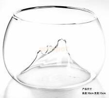 Clear Rockery Design Flower Glass Vase Fish Tank Aquarium Home Decor 10x15cm