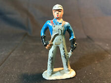 Old Vtg Lead Mechanic Man Wearing Overalls Holding Oil Can Train Garden England