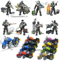 City Police Motorcycle Set Mini Military Soldiers Army Weapon Figures Fit Mega