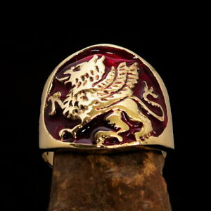 ROUND MENS BRASS COSTUME BIKER RING WALKING GRIFFIN GRYPHON SEAL RED SIZE 8.5