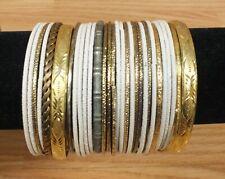 Lot of 30 Multi Tones Metal / Plastic Bangle Style Bracelets - Faux Fashion