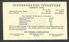 1953 P C BOSTON MA THE PARKER CORP INVESTORS IN OIL & R.R. ETC