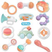 12pcs Cartoon Baby Shake Bell Rattles Newborn Intelligent Educational Toys Gift