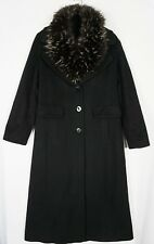Bella Bicchi REAL RACCOON Collar Loro Piana Wool Dress Black Coat Sz 10