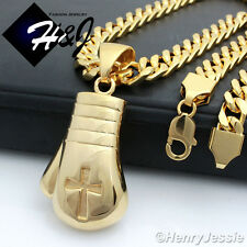 "24""Stainless Steel 9x4mm Gold Cuban Curb Necklace Boxing Glove Cross Pendant*P79"