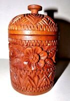 Vintage Ornate Carved solid Wood Jar with Lid Round Box