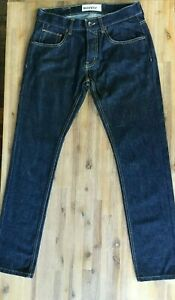Awesome Designer MOTO Skinny Dark Blue Button Fly Men`s Jeans SIZE 32R