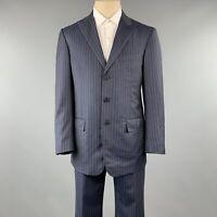 DAVID AUGUST Size 40 Navy & Gray Stripe Wool Peak Lapel 34 x 30 Suit