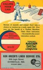 Postcard Service Reminder, Ron Green's Linco Gas Station, Evansville Indiana #3
