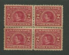 1909 United States Postage Stamp #370 Mint Hinged XF Original Gum Block of 4