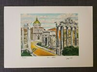 Original Bela Sziklay 1911-1981 Hand colored Etching ITALY ROME, Pencil Signed