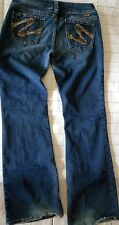 Silver Western Glove Works Suki Jeans Size 30 32 Distress Embroidered Swirl