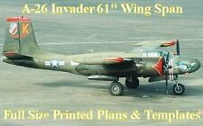 """A-26 Invader 61""""WS Giant Scale RC Airplane Full Size PRINTED Plans & Templates"""