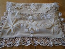 ANTIQUE HAND EMBROIDERED  NIGHTIE CASE - LACE BORDER- SILK LINING