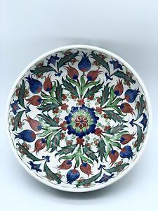 "Artisan Made Turkish Art Pottery Blue Red Green Kutahya Bowl Ceramic 8"" Signed"