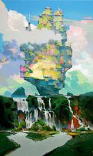 """NUOVO vitoldo laisonas tela originale """"DOPO LA PIOGGIA"""" surrealista dipinto ad olio"""