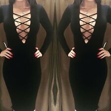 New Sexy Genuine Bandage Dress Long Sleeve Deep V Neck Shape Black Size 12-14
