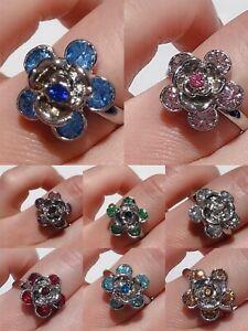 Adjustable Flower Women Ladies Girls Resizable Diamante Finger Rings Party Gift