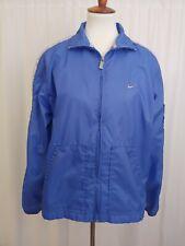 Nike Womens Windbreaker Size M (8-10) Blue Gray Stripe Zip Up Shoulder Pocket