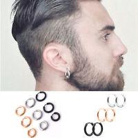 1Pair Womens Mens Steel Flat Round Tube Hoop Huggies Ear Ring Stud Earring Punk,