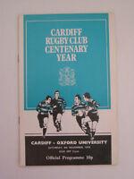 Cardiff v Oxford University 1976  Rugby Union Programme