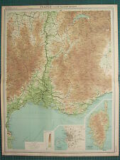 1921 LARGE MAP ~ FRANCE SOUTH-EASTERN SECTION MARSEILLE ENVIRONS CORSE CORSICA