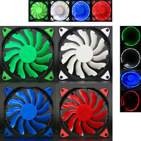 Quiet 120mm DC 12V3+4pin LED effects Clear Computer Case Fan For Radiator Mod UK