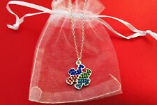 Autism Aspergers Awareness crystal puzzle piece charm necklace silver plated