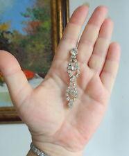 Clear Rhinestone Crystal Long Dangle Tear Drop Wedding Silver Clip On Earrings