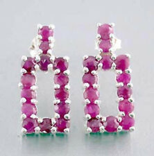.925 Sterling Silver Earrings with 21,85 carat round cut Rubies