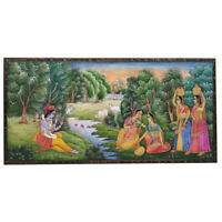 "Painting 4""X 8"" Radha Krishna Handmade fine India Miniature Artwork Resin tile"