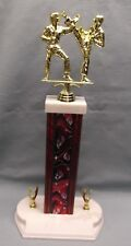 action Karate trophy award red column wide white base eagle trims