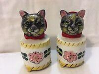 Rare Set Vtg JAPAN TABBY CAT Salt & Pepper Shakers Mid-Century Red Pink Floral