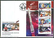 Togo 2014 Soviet Space Program Belka & Strelka Gagarin Sheet First Day Cover