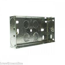 Paquete De 5 Caja posterior de metal doble de doble Appleby 25mm profunda para Eléctrico Enchufe de pared