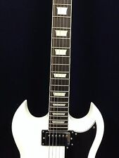 4/4 Haze 275WH SG Style Electric Guitar,Solid Mahogany Body,White-Full Pack!